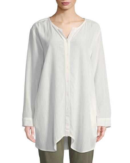 MASAI Itana Striped Button-Front Blouse in Cream