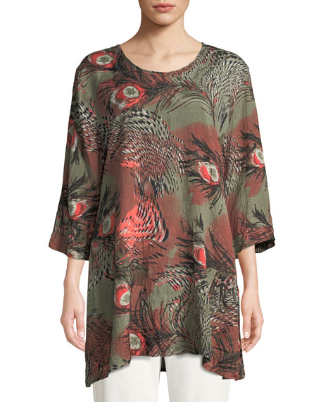 MASAI Gwen 3/4-Sleeve Peacock-Print Tunic in Olive/Coral