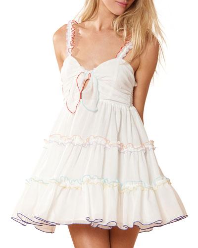 Harper Tie-Front Ruffle Coverup Dress
