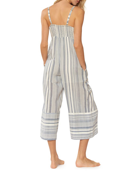 bfd16c3d223e Image 2 of 2  Kimberly Sweetheart Wide-Leg Striped Cotton Jumpsuit w   Adjustable