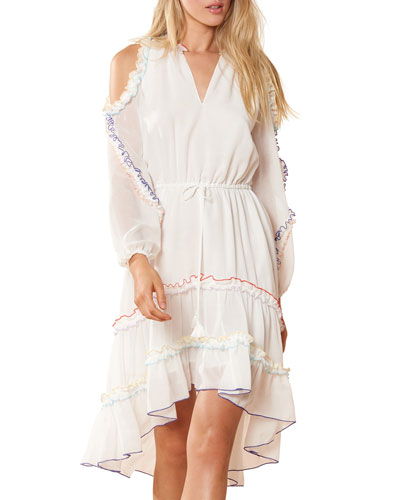 Lucy Cold-Shoulder Ruffle Coverup Dress