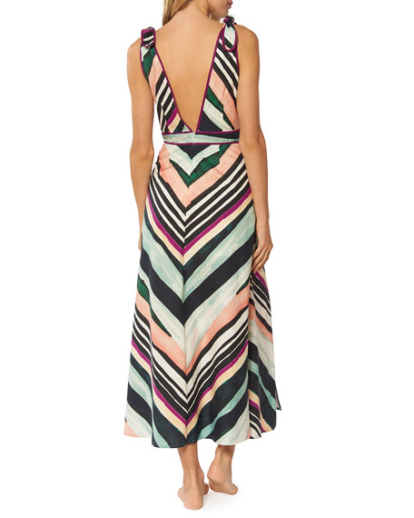 eba51710e3 Image 2 of 2  Kinsley Striped Sleeveless A-Line Midi Dress