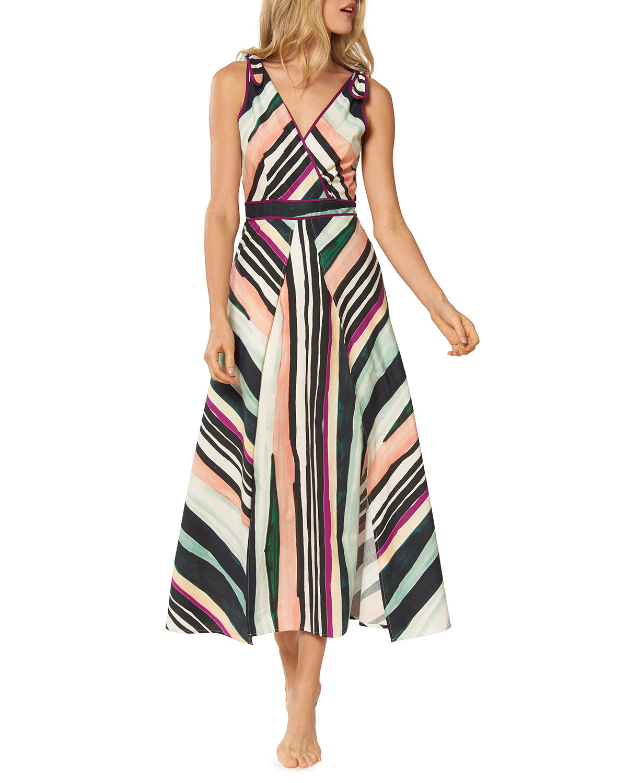 cef0debc26 Red Carter Kinsley Striped Sleeveless A-Line Midi Dress