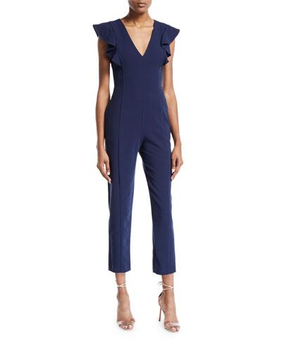 Deklyn Cropped Straight-Leg Jumpsuit w/ Flutter-Sleeves