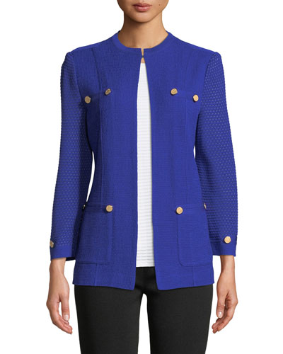 Textured-Sleeve Knit Jacket  Plus Size