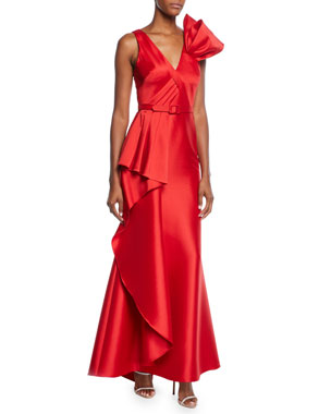 06c2057146 Badgley Mischka Collection V-Neck Sleeveless Asymmetric Flounce Gown w   Belted Waist   Bow