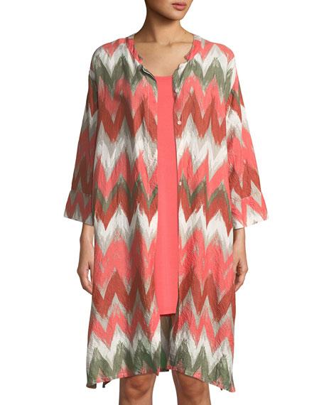 MASAI Long Zigzag-Print Shantung Long Jacket in Coral Print