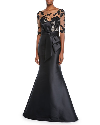 Bateau-Neck Elbow-Sleeve Illusion Gown w/ Floral Embroidery