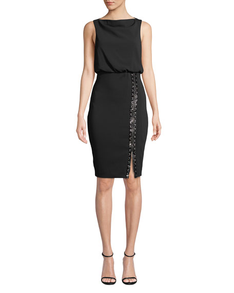 Badgley Mischka Collection Bateau-Neck Sleeveless Blouson Dress