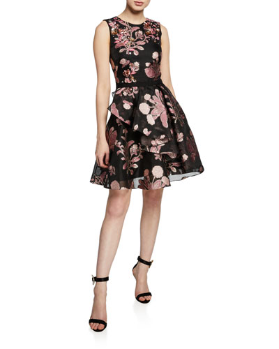 Metallic Floral-Embroidered Sleeveless Cocktail Dress w/ Back Cutout