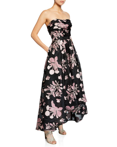 Strapless Floral Embroidered High-Low Fil-Coupe Dress
