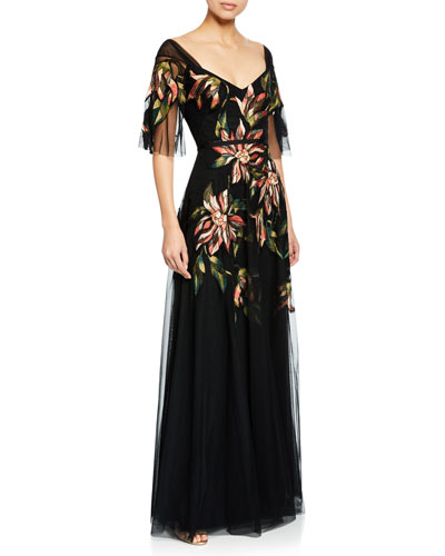 V-Neck Half-Sleeve Floral Embroidered Tulle A-Line Gown