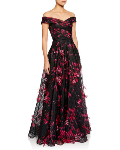 Off-the-Shoulder Floral-Printed Striped Organza Gown w/ 3D Flowers
