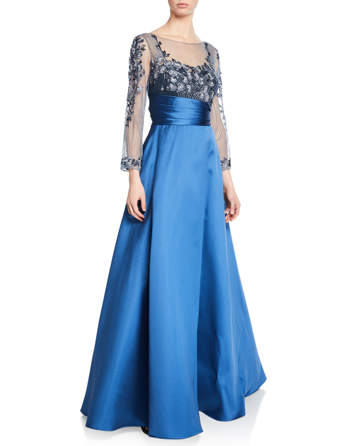 Marchesa Notte Sweetheart Illusion Mikado Ball Gown w/ 3D Floral-Embroidered Bodice