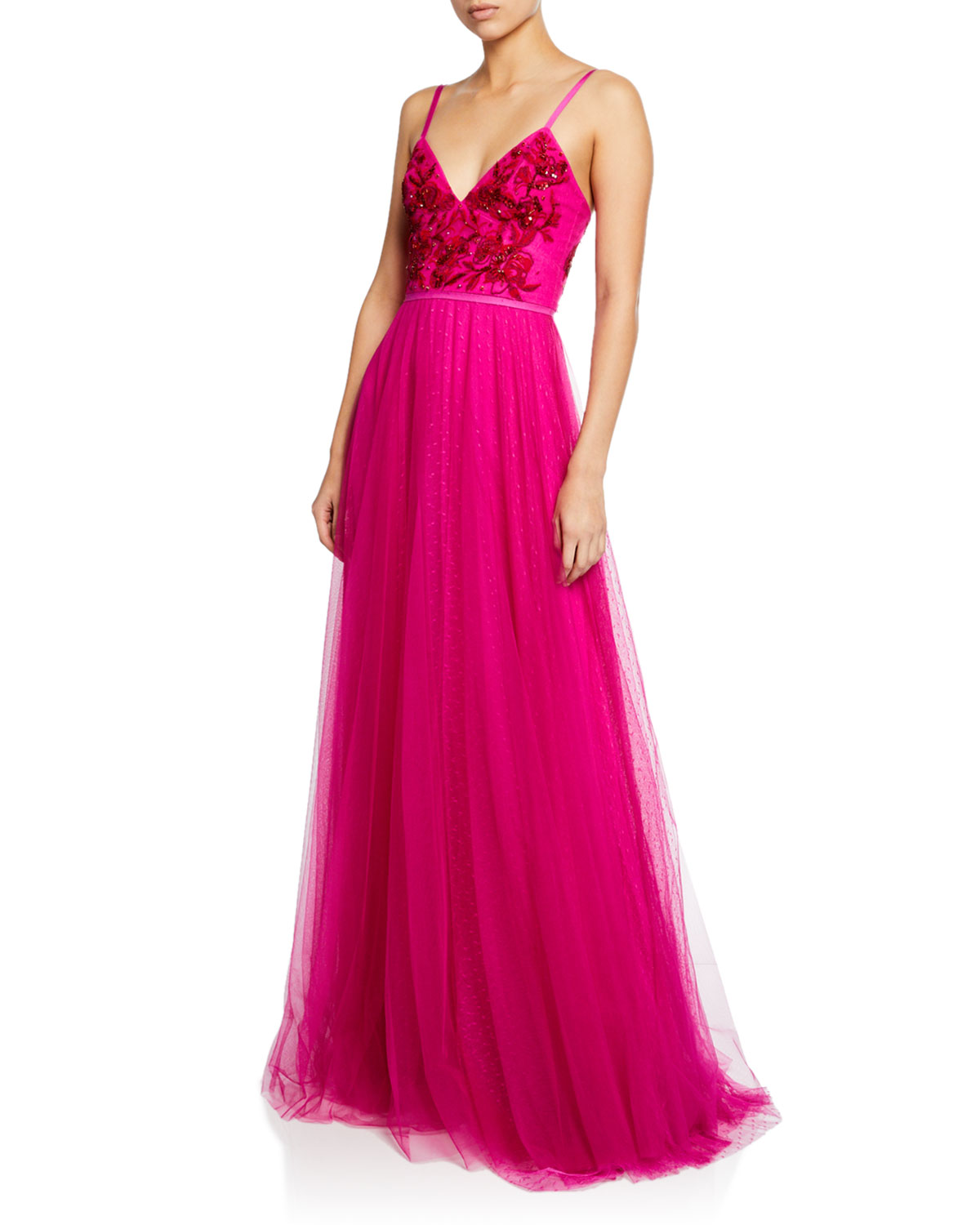731bbfe447e9 Marchesa NotteV-Neck Sleeveless Embroidered Beaded Bodice Point D Esprit  Gown