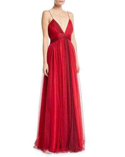 Beth V-Neck Sleeveless Tulle Dress