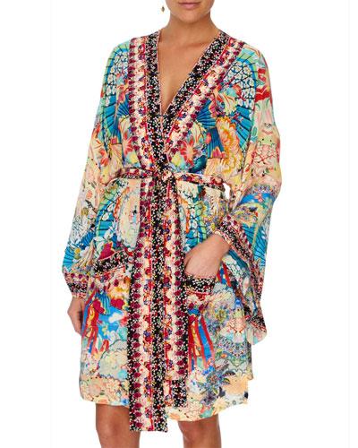 Miso in Love Silk Kimono Coverup with Tie Belt