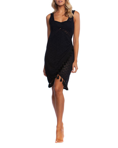 Crochet Coverup Wrap Dress with Tassels