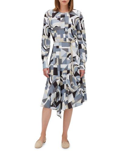 Paris Long-Sleeve Printed Dress w/ Belt