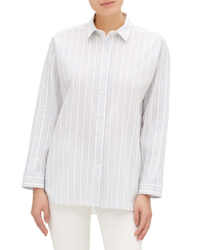 Trinity Striped Button-Front Blouse with Button Trim Detail