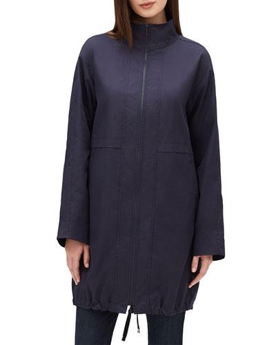 Minerva Stand-Collar Zip-Front Long-Sleeve Jacket
