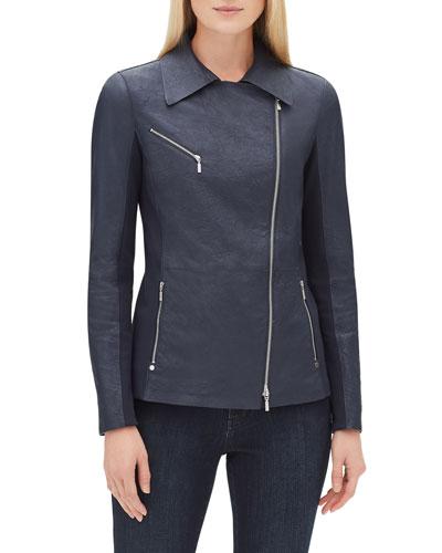 Elwood Zip-Front Weathered Lambskin Leather Moto Jacket w/ Ponte Combo  Plus Size