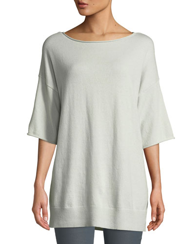 Cashmere Relaxed Short-Sleeve Pullover, Plus Size