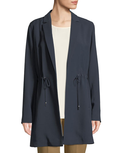 Pierre Finesse-Crepe Jacket w/ Adjustable Cord, Plus Size