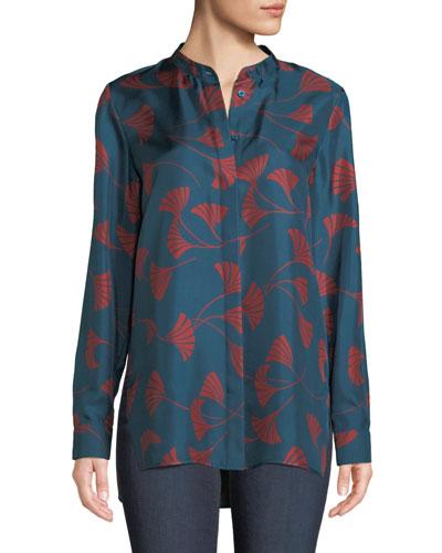 Brayden Fluid Fans Silk Blouse  Plus Size