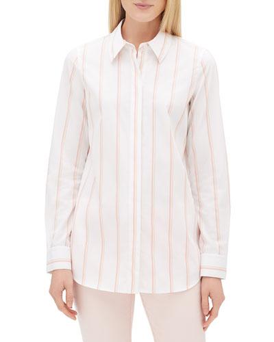 Velma Long-Sleeve Skylark Striped Button-Front Blouse  Plus Size