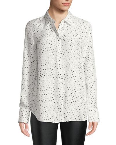 Scottie Brilliant Boxes Long-Sleeve Silk Blouse  Plus Size