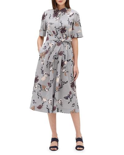 Eleni Artisan Bouquet Short-Sleeve Stretch Cotton Midi Dress  Plus Size