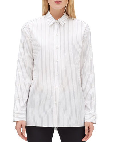 Trinity Pinstripe Button-Front Blouse