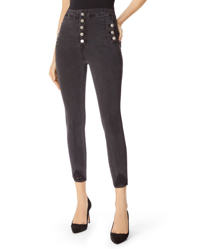 Natasha Sky-High Crop Skinny Jeans with Destroyed Hem