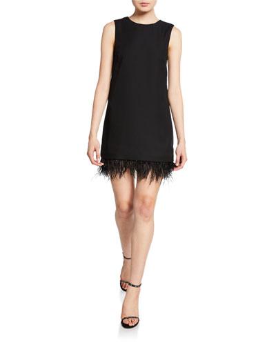 Quinella Sleeveless Dress w/ Feather Hem