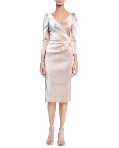 Theia V Neck 3 4 Sleeve Stretch Lurex Faux Wrap Tail Dress
