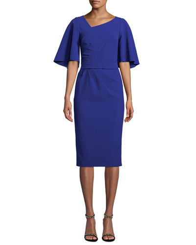 Flutter-Sleeve Knee-Length Asymmetric Sheath Dress