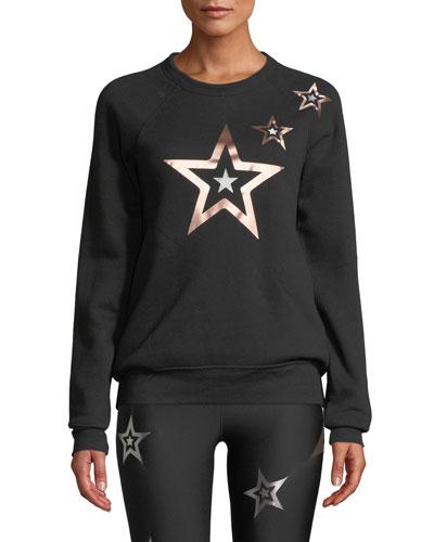 Pop Star Printed Boyfriend Pullover Sweatshirt