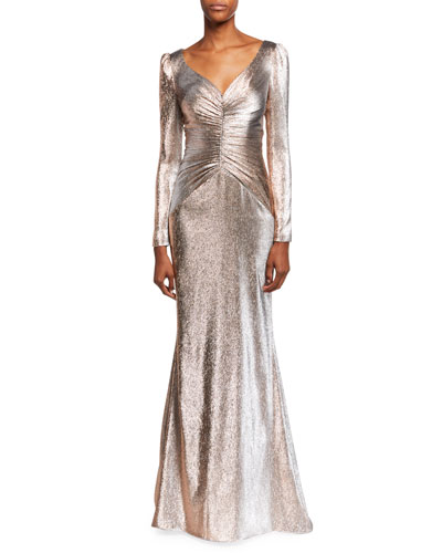 V-Neck Long-Sleeve Lame Mermaid Gown w/ Shirred Bodice