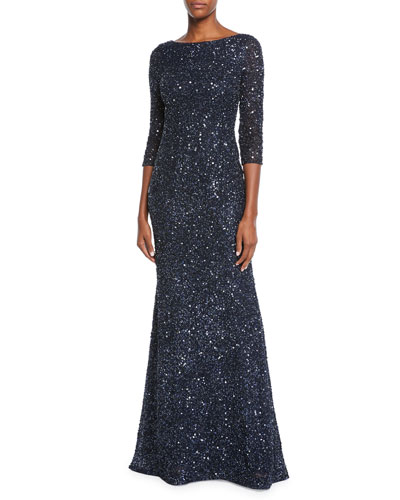 Bateau-Neck Sequin 3/4-Sleeve Scooped-Back Gown