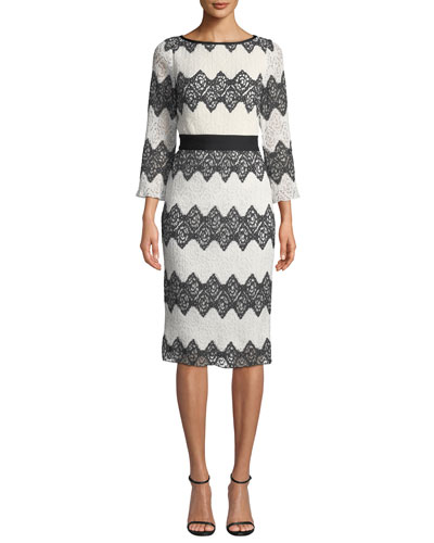 Bateau-Neck 3/4-Sleeve Colorblock Lace Dress