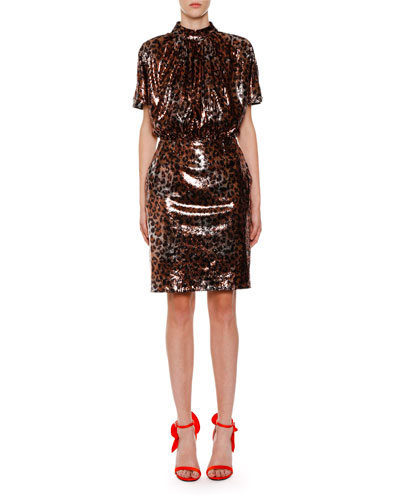 Sequin Leopard-Print Mock-Neck Backless Dress