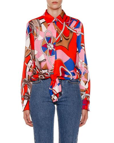 Abstract-Print Button-Down Long-Sleeve Shirt w/ Tie-Hem