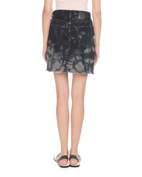 Bleached Denim Mini Skirt with Frayed Hem