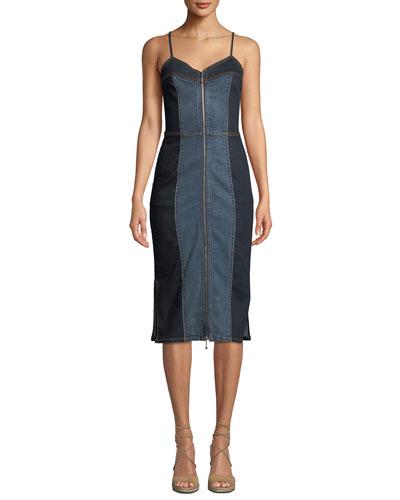 The Jacqueline Paneled Zip-Front Denim Midi Dress