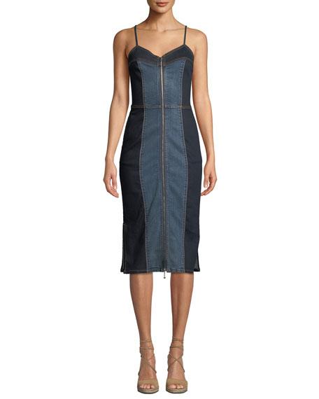 Current/Elliott The Jacqueline Paneled Zip-Front Denim Midi Dress