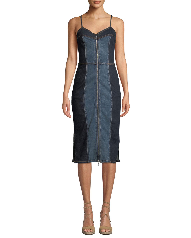 d699c5596a Current Elliott The Jacqueline Paneled Zip-Front Denim Midi Dress ...