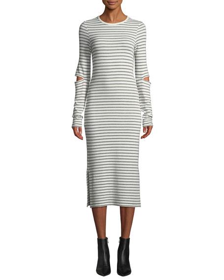 Current/Elliott The Quince Striped Cutout Long-Sleeve Midi Dress
