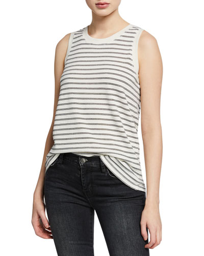 The Easy Striped Crewneck Muscle Tank