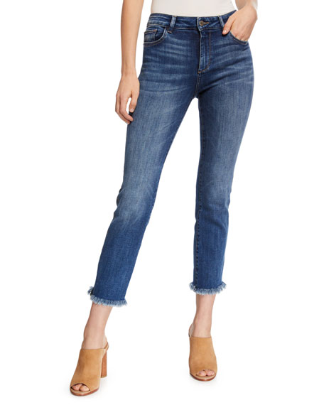 DL PREMIUM DENIM Mara Ankle Mid-Rise Straight Jeans With Metallic Stripes in Brooke